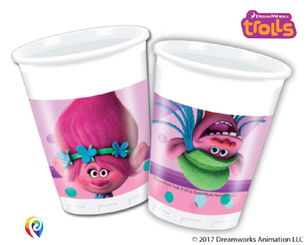 8 Trolls Plastic Party Cups